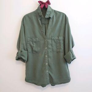 Zara Military Green LS Utilitarian Shirt